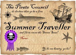 Free printable pirate certificate - summer traveller