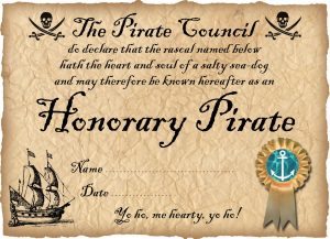 Printable Pirate Certificate: Honorary Pirate