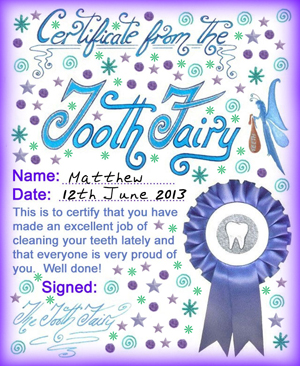 Modern Tooth Fairy Certificates