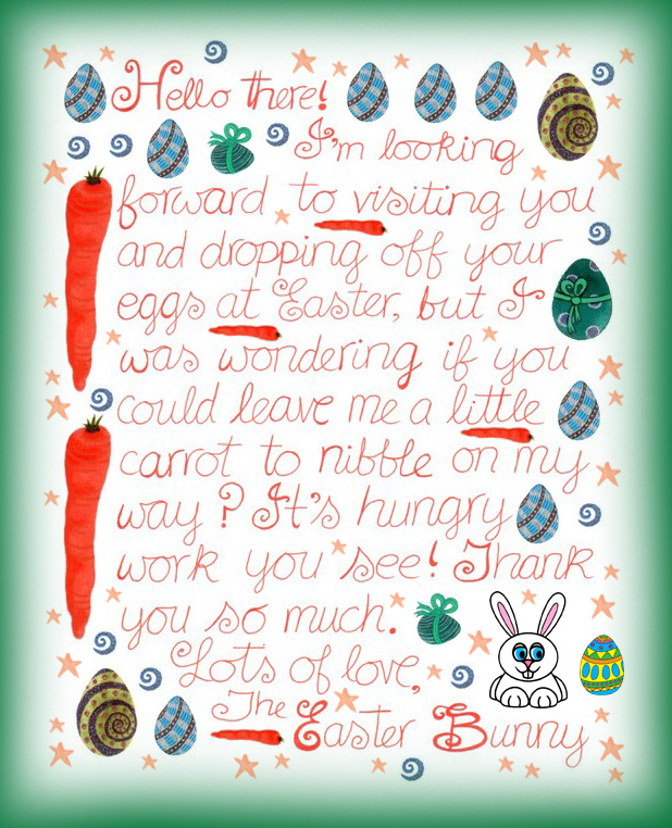Note from the Easter Bunny asking if you'll leave him a carrot