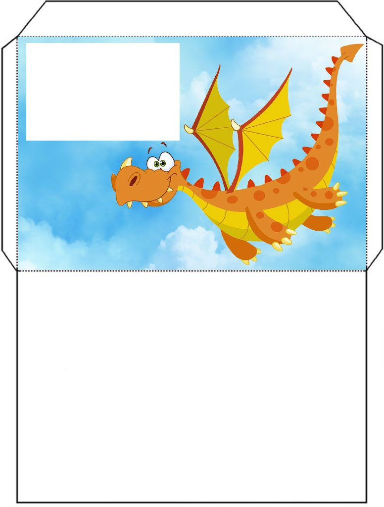 Printable envelope of and orange dragon flying through the sky.