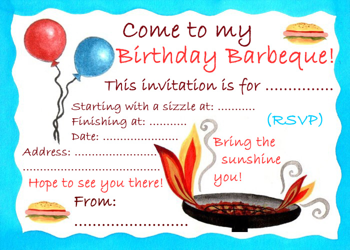 Party invitation to a birthday barbeque