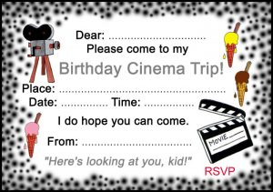 Printable invitation to a birthday cinema trip