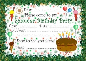 Printable invitation to a summer birthday party