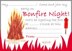 A printable invitation to a bonfire night party