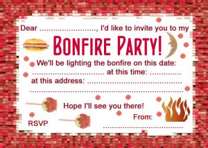 Bonfire night party invitation
