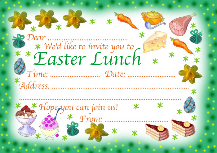 Easter Lunch Invitation Rooftop Post Printables