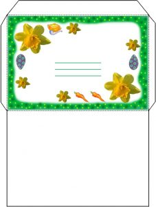 An envelope which matches our invitation to Easter Lunch