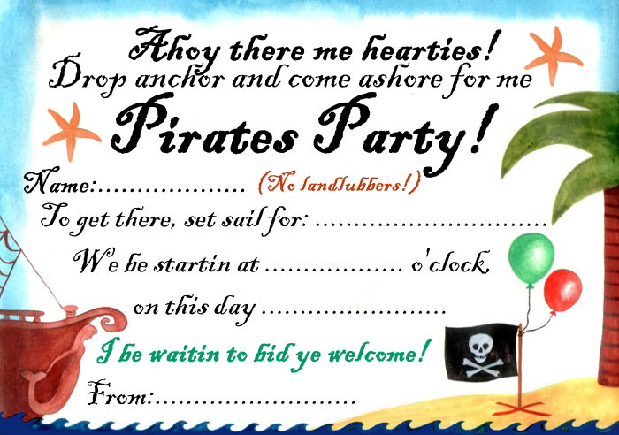 Pirates Party Invitation Rooftop Post Printables – Free Pirate Party Invitations