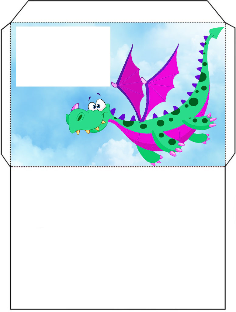 Free printable pink and green coloured dragon envelope.