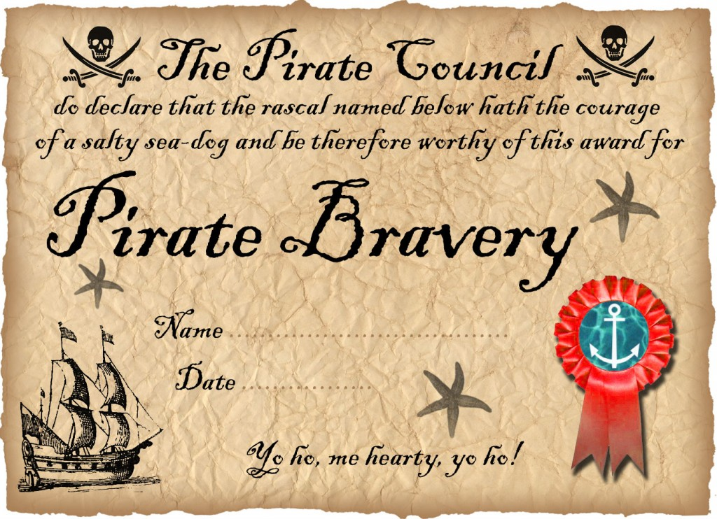 pirate swimmer certificate pirate award for a ship shape room