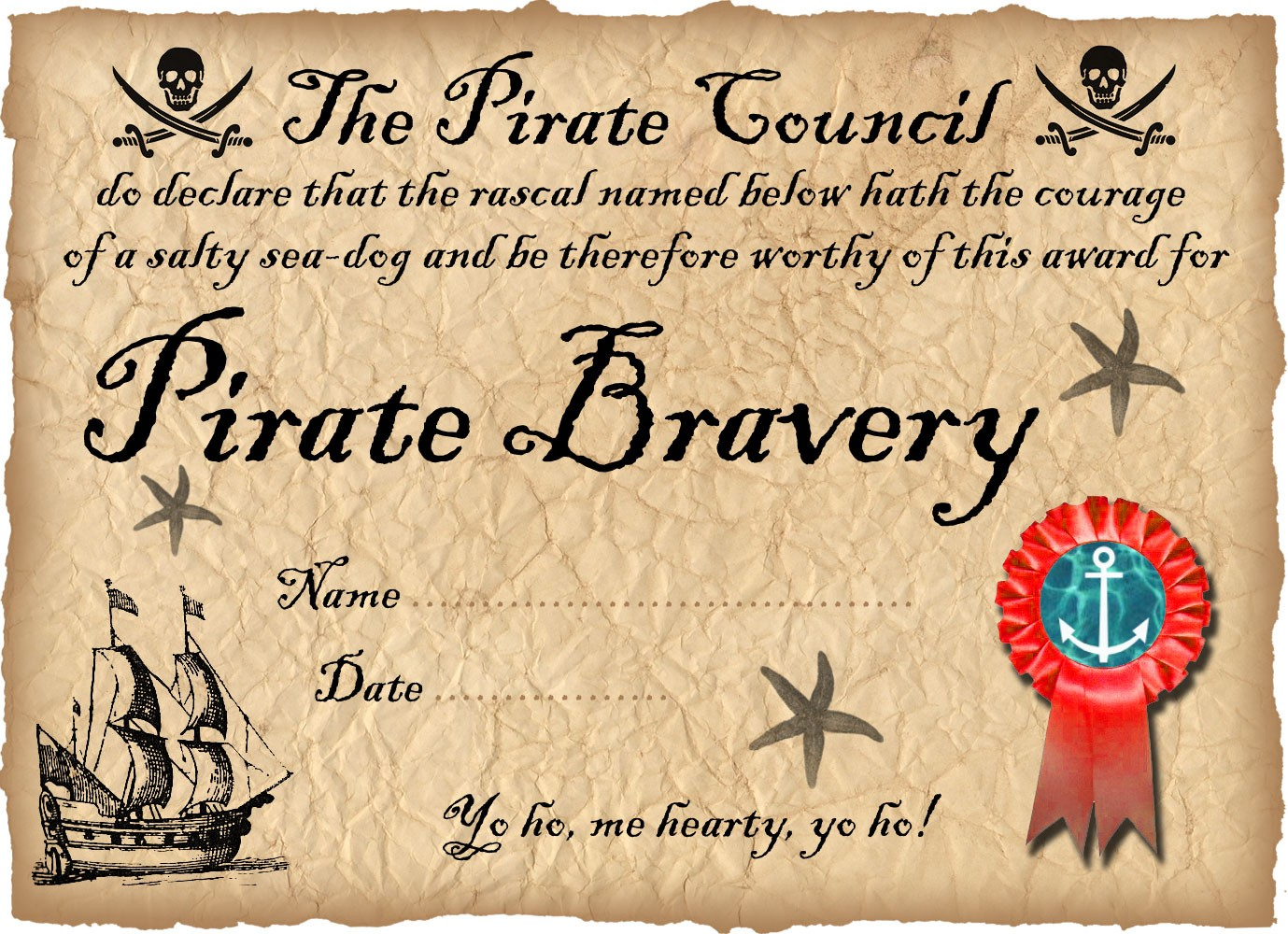 Printable Pirate Certificate of Bravery