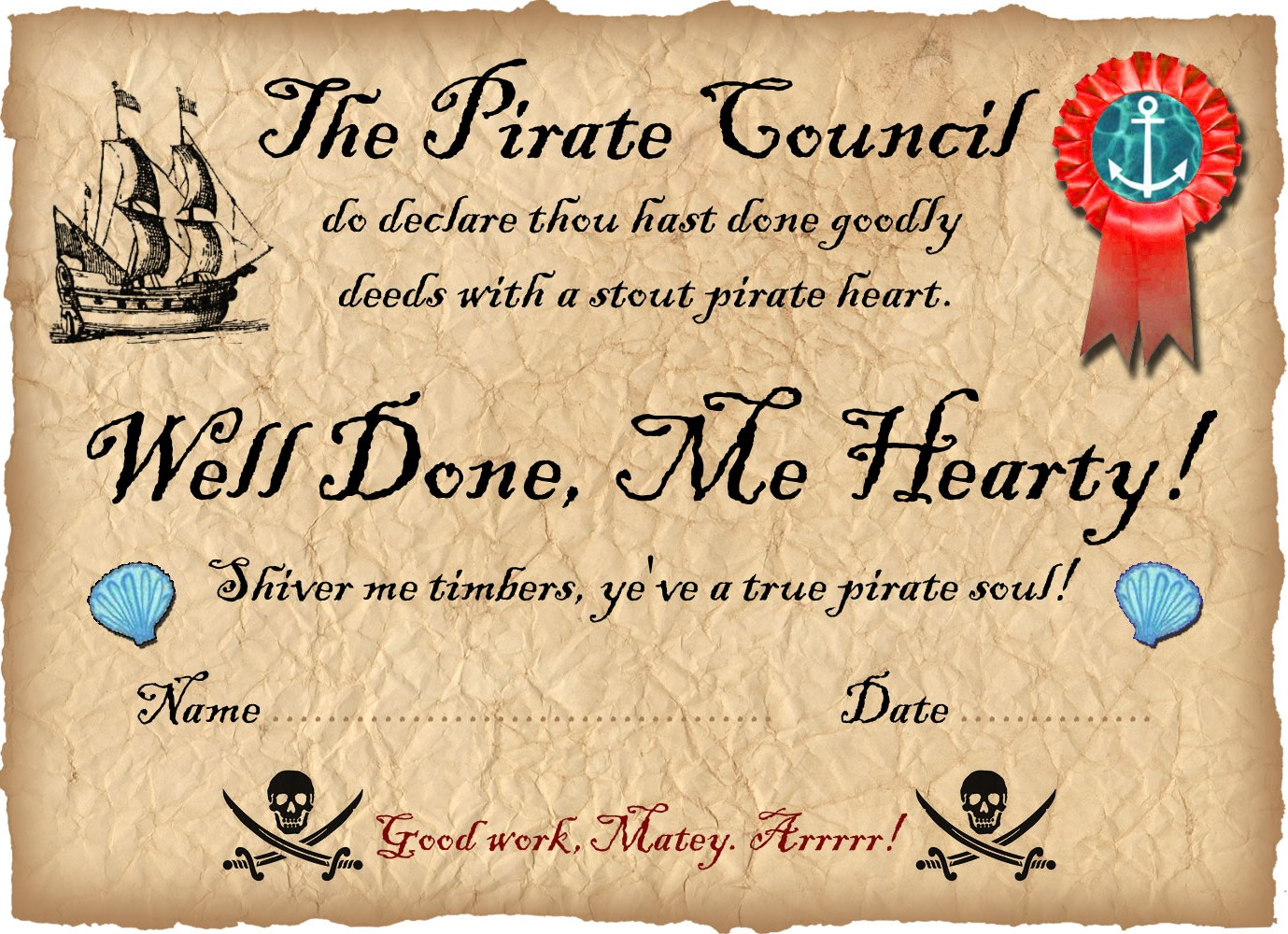 Pirate Certificate: Well Done | Rooftop Post Printables