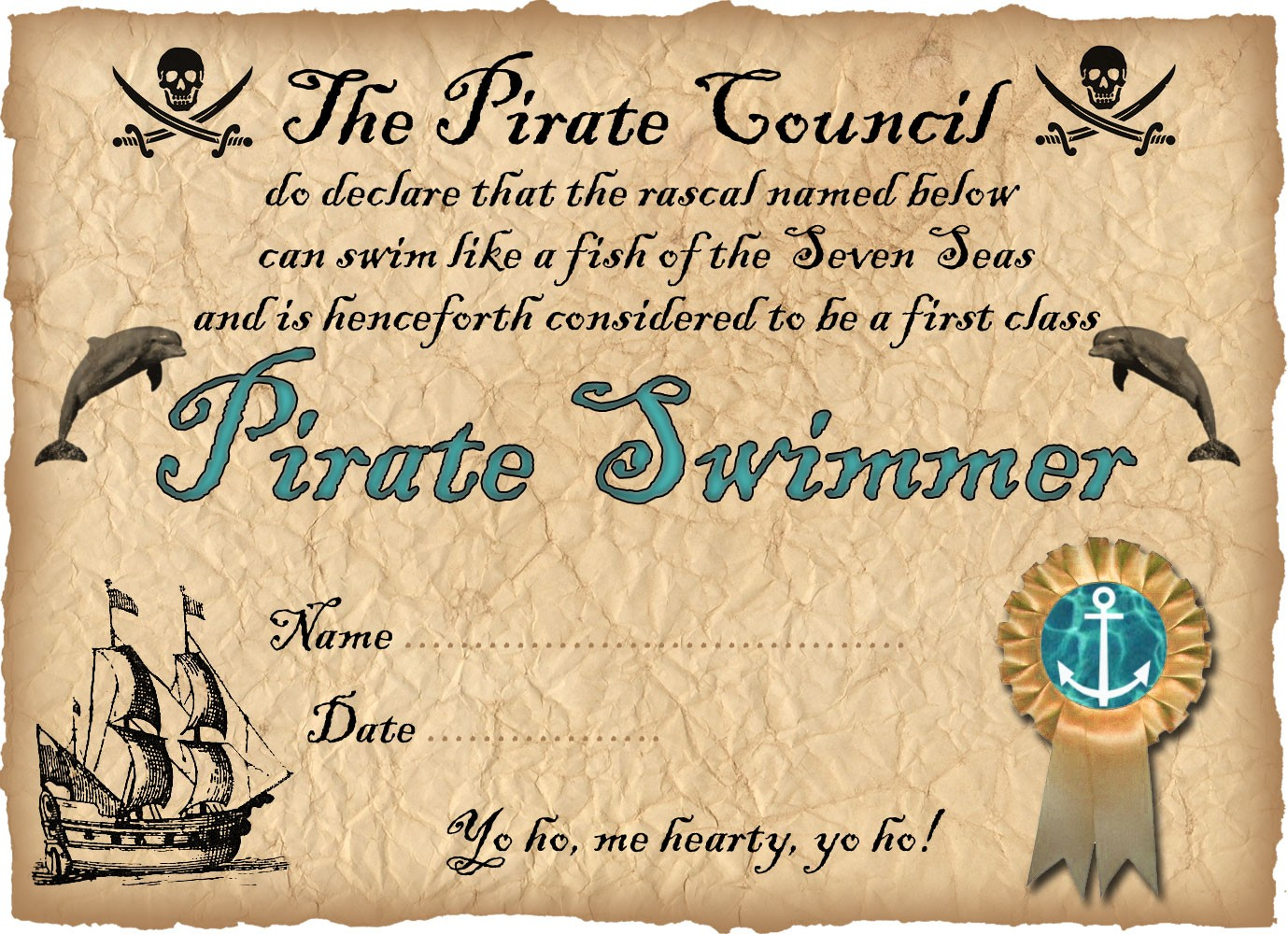 Pirate Swimmer Certificate | Rooftop Post Printables