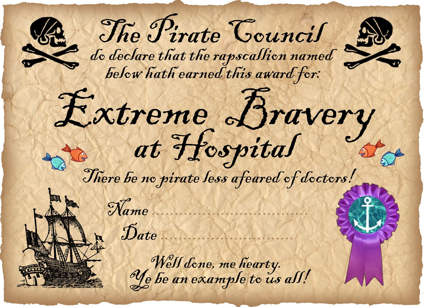 Pirate certificate award for bravery in hospital for Bravery certificate template