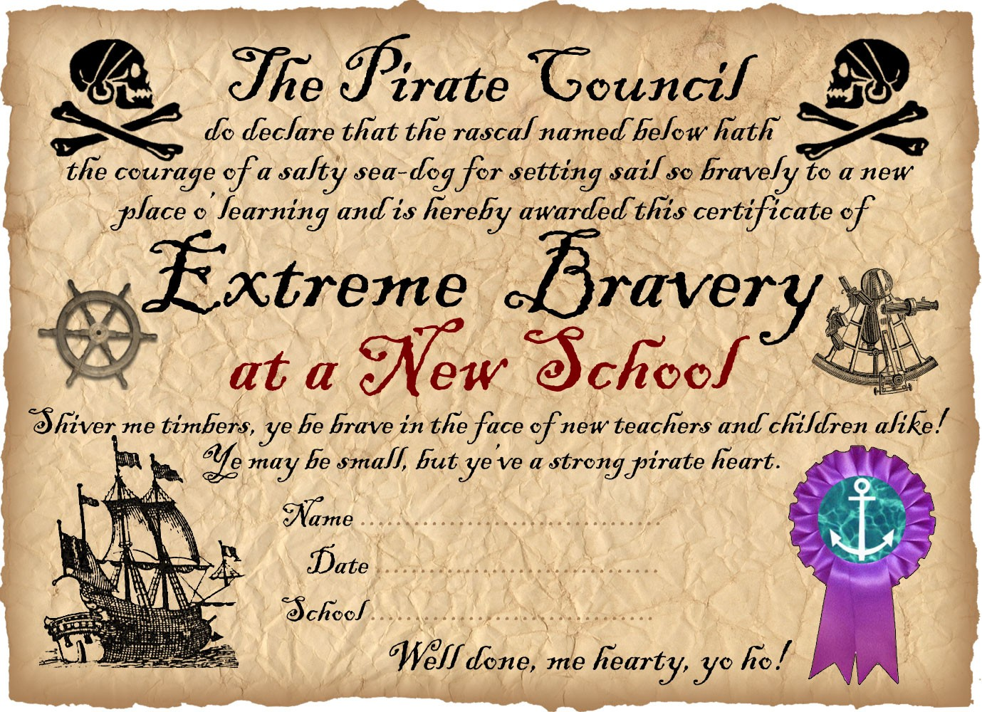 Printable pirate certificate to say well done for being brave at your new school