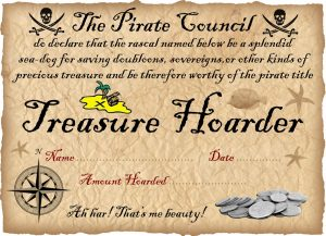 Pirate certificates rooftop post printables printable certificate from the pirate council for children who have been saving their gold negle Image collections