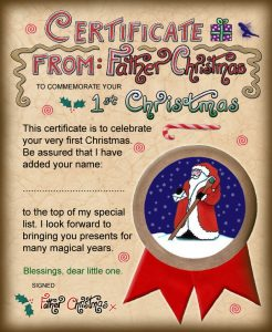 Santa certificate to commemorate your baby's first Christmas
