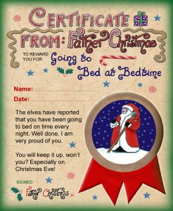 Certificate from Santa Claus saying well done for going to bed on time