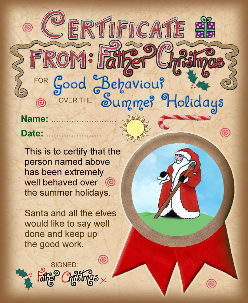 Santa Certificate: Good Behaviour over the Summer Holidays | Rooftop ...