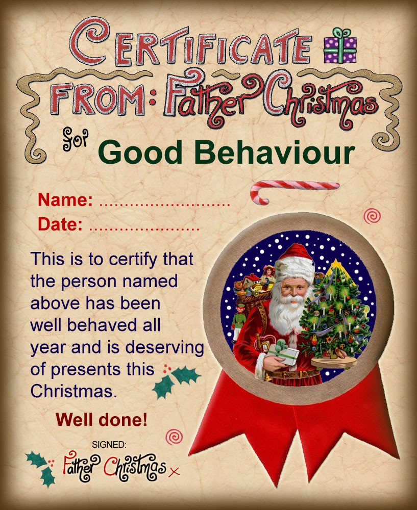 Santa Certificate of Good Behaviour | Rooftop Post Printables