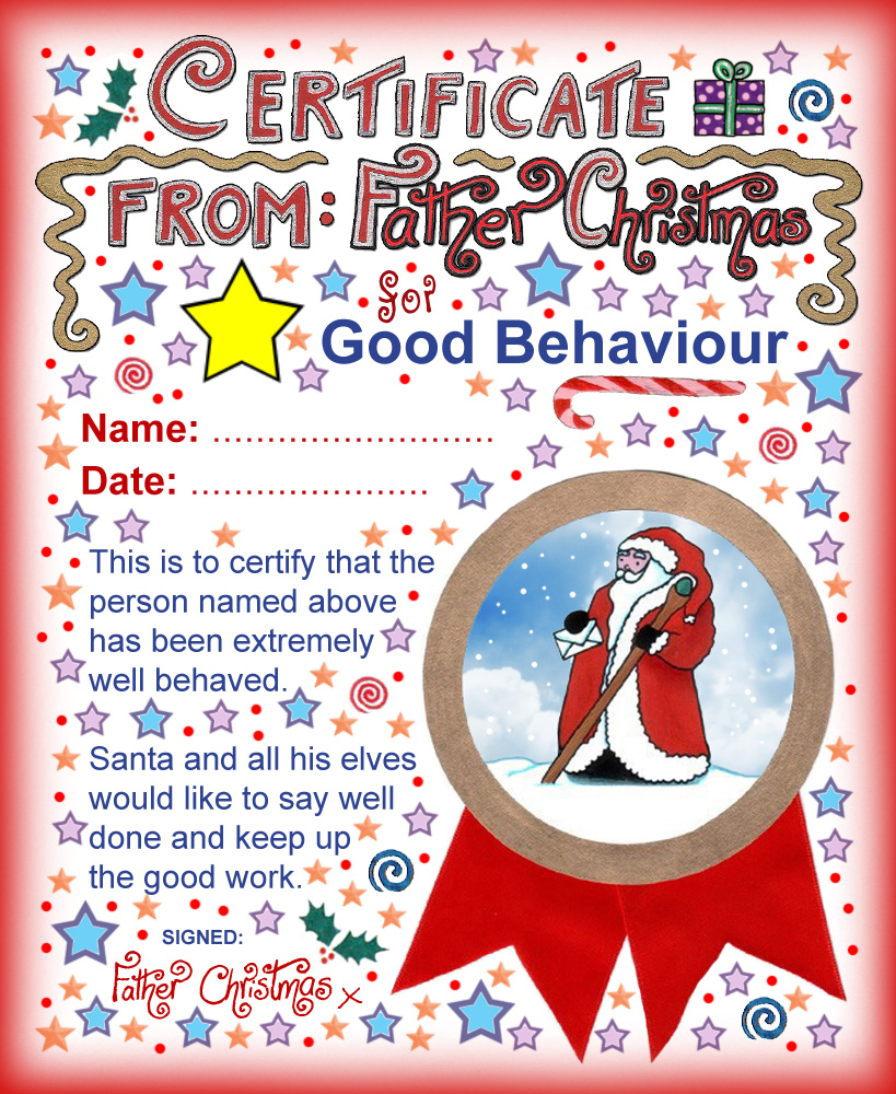 santa certificates rooftop post printables good behaviour certificate from father christmas