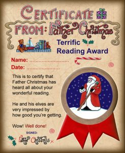 Reading award from Father Christmas