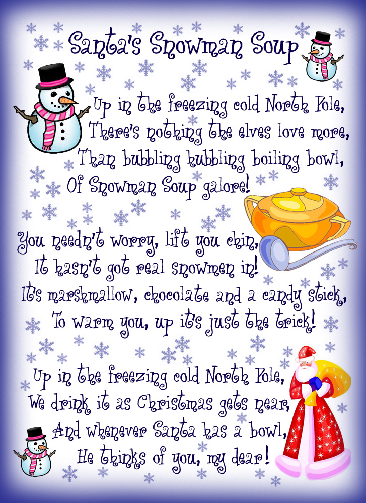 Santa's Snowman Soup Poem - Rooftop Post Printables