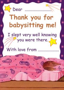 Printable thank you note to say thanks for babysitting