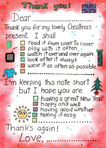 Thank you note to say thank you for Christmas presents