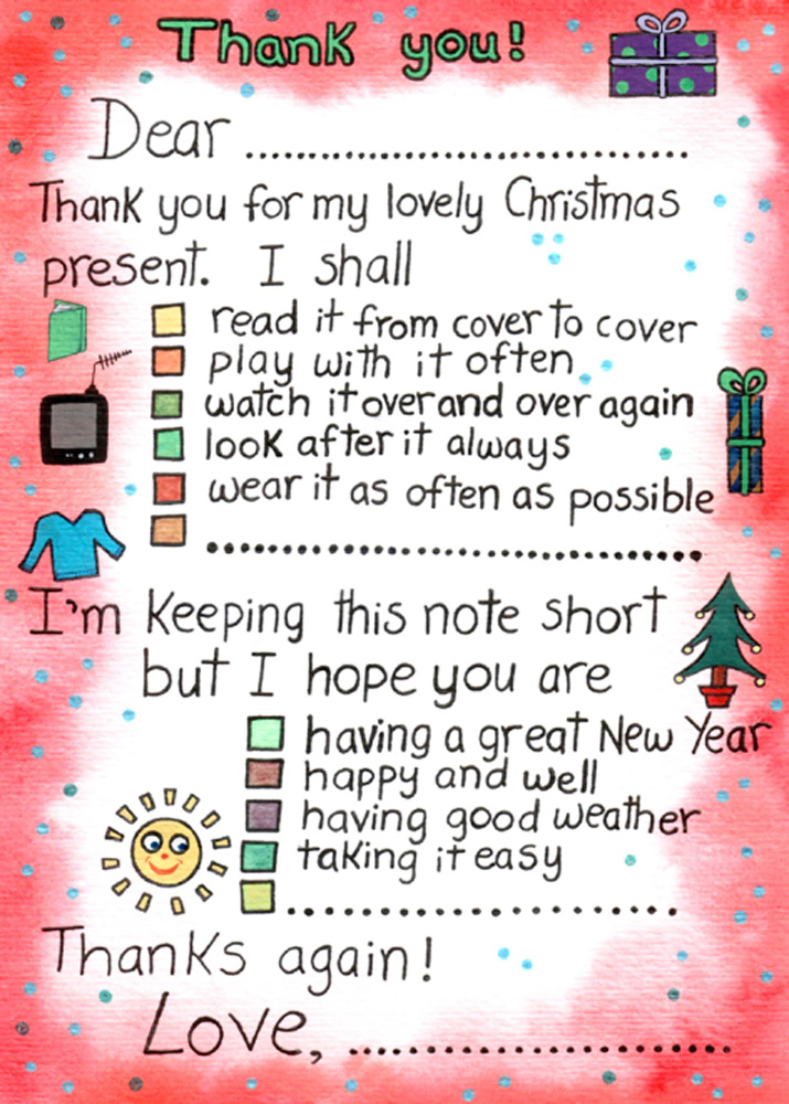 Thank You Note To Say For Christmas Presents