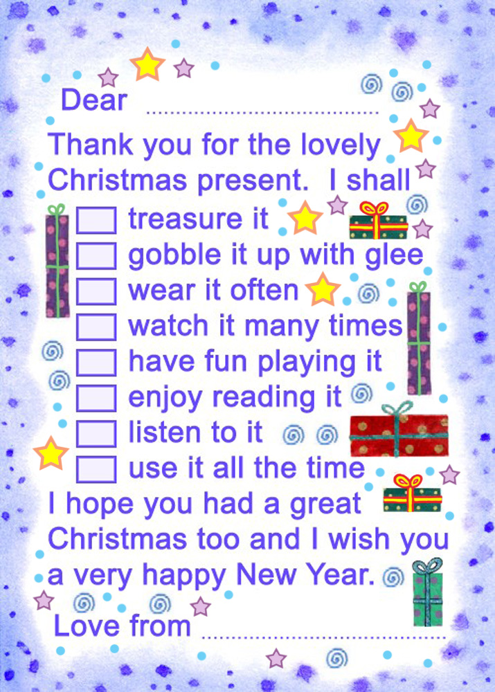 Printable Thank You Note: Christmas Present