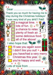 Printable thank you note: Thanks for having me to stay over Chrismas