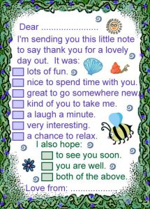 Printable note to say thanks for a lovely day out