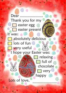 Printable thank you note for easter eggs and gifts