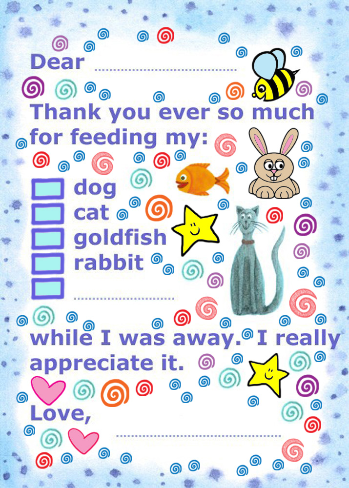 Printable Thank You Note: Feeding Pets