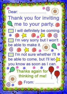 Printable thank you note to answer an invitation to a party