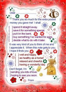 Printable thank you note to say thanks for the extra pocket money