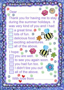 Printable thank you note to say thanks for having me to stay over the summer