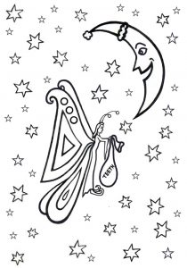Colouring in page of the Tooth Fairy