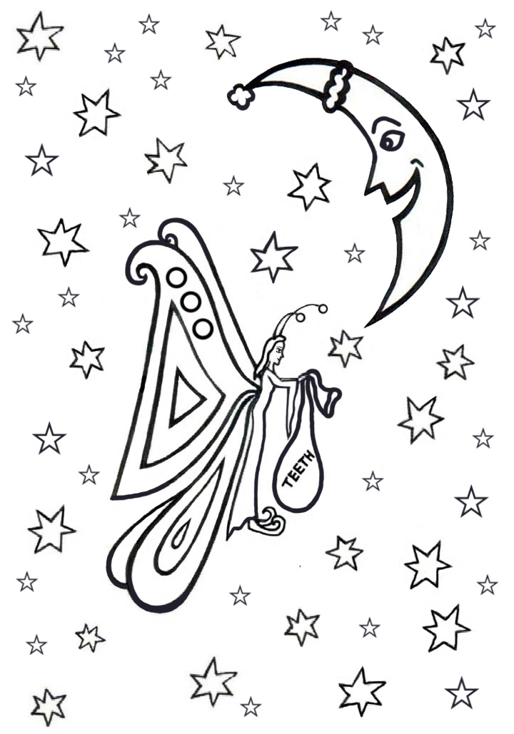 Printable Colouring Tooth Fairy Rooftop Post Printables