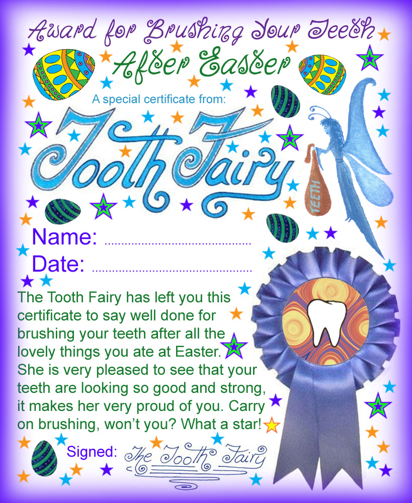 Tooth Fairy Certificate Well Done For Brushing Your Teeth