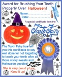 Printable certificate from the Tooth Fairy to say well done for brushing over Halloween