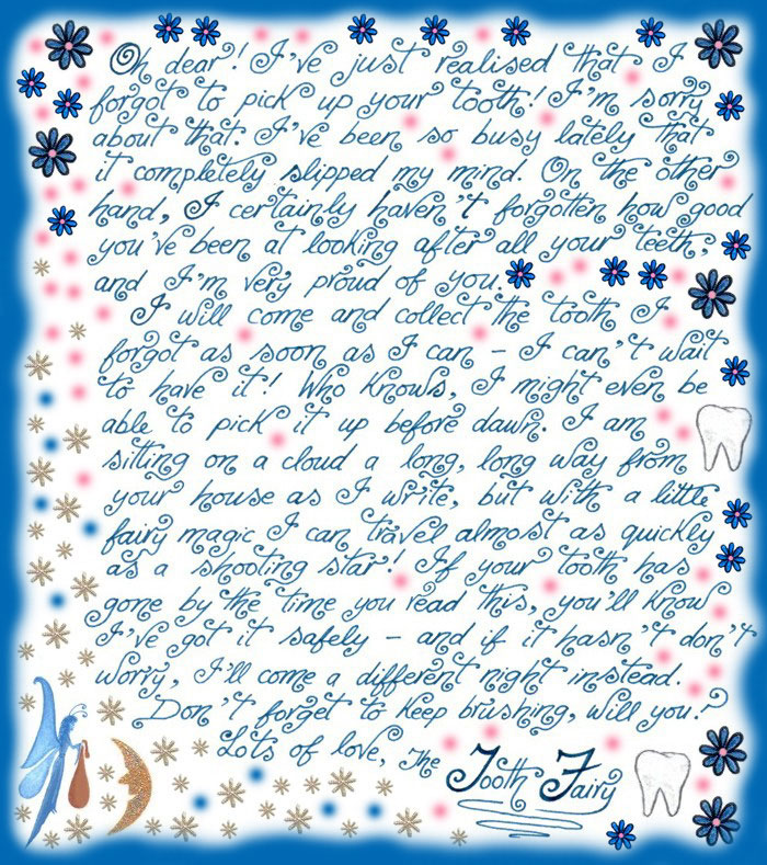 graphic regarding Free Printable Tooth Fairy Letters titled Enamel Fairy Observe: Sorry I Forgot in the direction of Opt for Up Your Teeth