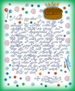 Printable note from the Tooth Fairy to say happy birthday!