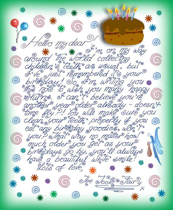 Tooth Fairy Note: Happy Birthday! | Rooftop Post Printables