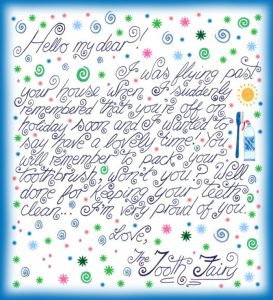 Printable note from the Tooth Fairy reminding a child to pack a toothbrush
