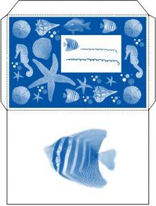 Printable envelope with ocean design