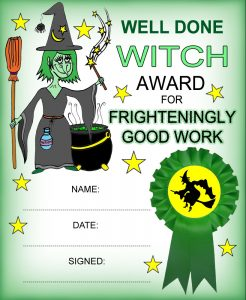 Witch-themed kids reward certificate for frighteningly good behaviour. Great for Halloween!