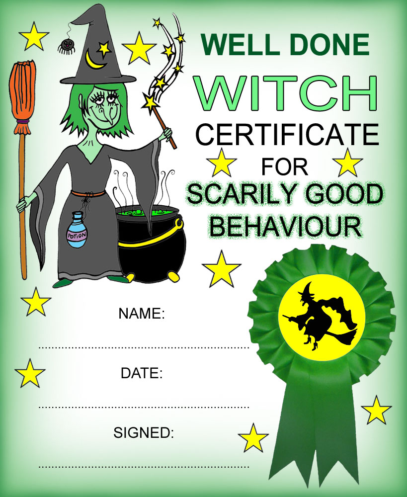 Witch-themed reward certificate for good behaviour